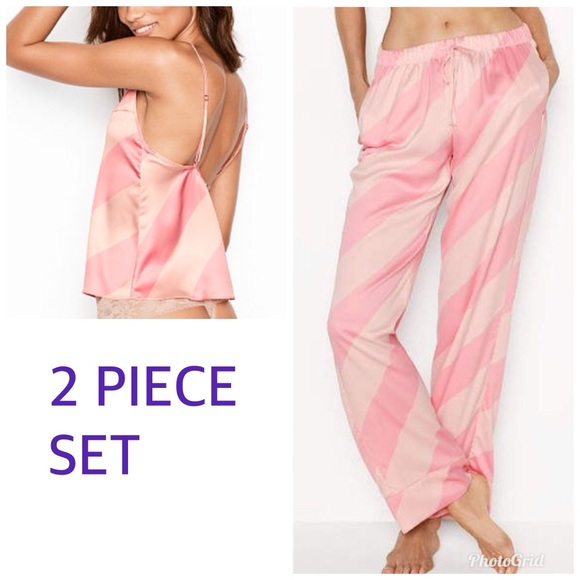 112fd8ccd5cc Victoria s Secret satin Stripe cami pajama PJ set